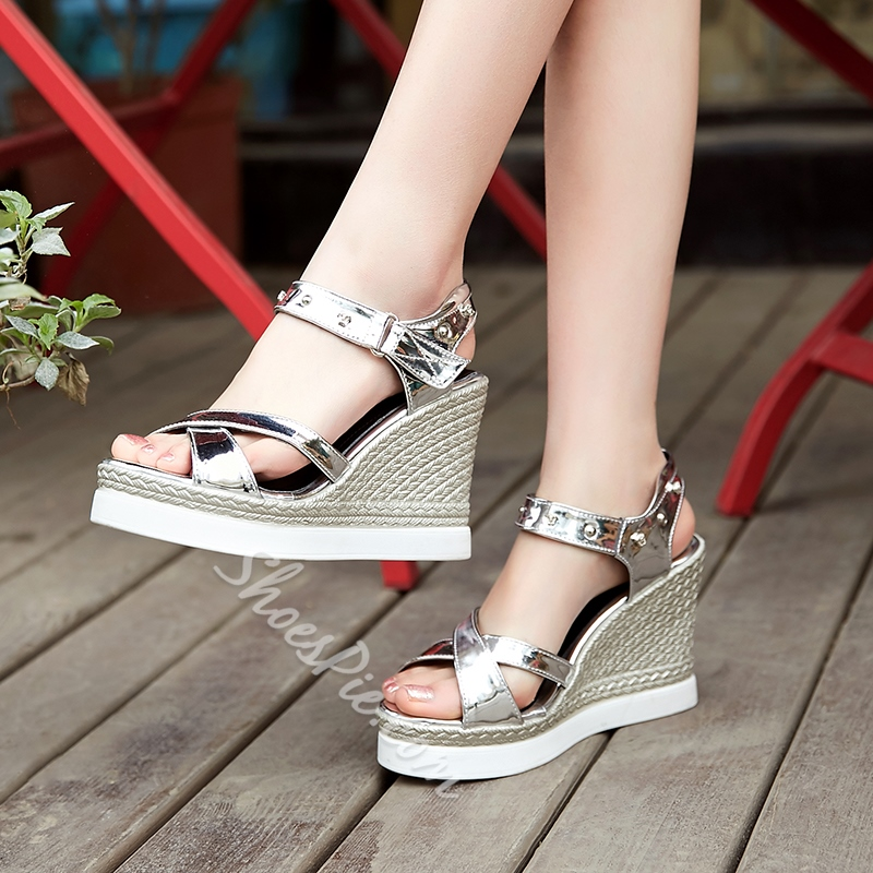 Shoespie Patent Leather Wedge Sandals