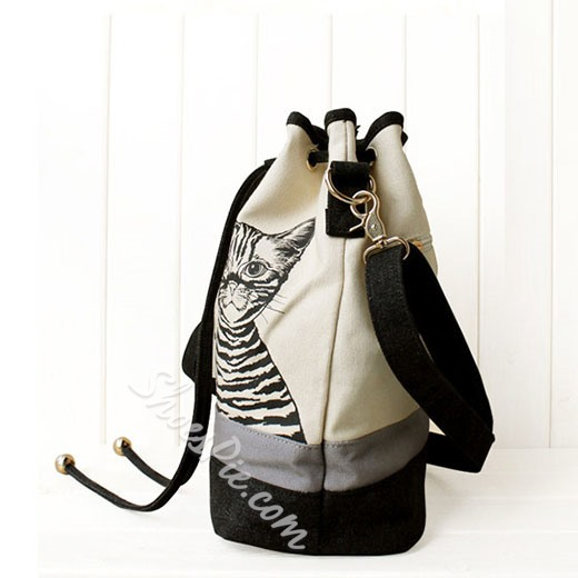 Shoespie Little Cat Print Canvas Bucket Bag