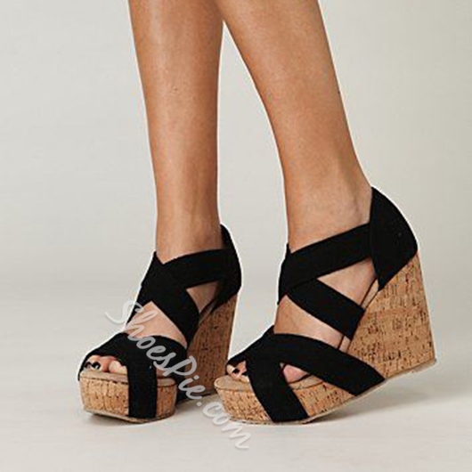 Shoespie Black Strappy Wooden Wedge Sandals