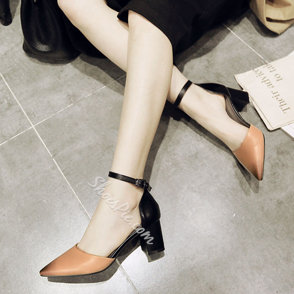 Shoespie Simply Pointed Toe Ankle Wrap Chunky Heels