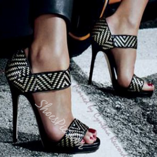 Shoespie Geometric Print Dress Sandals