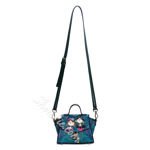 Shoespie Cartoon Print Green Mini Wing Bag