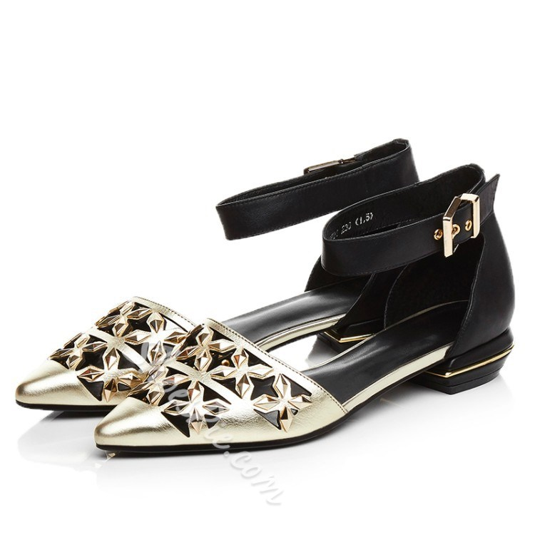 Shoespie Cutout Ankle Wrap Loafers
