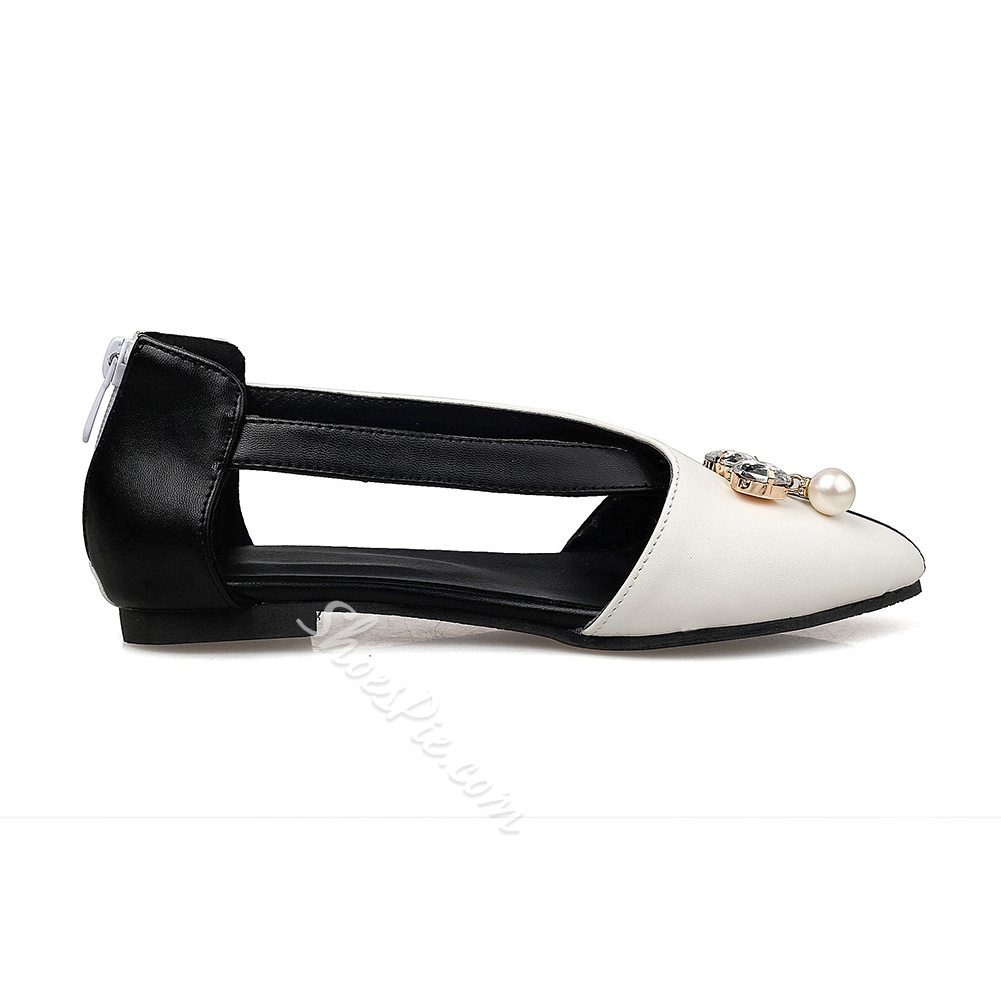 Shoespie Contrast Color Beaded Loafers
