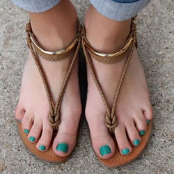 Shoespie Rope and Metal Thong Flat Sandals