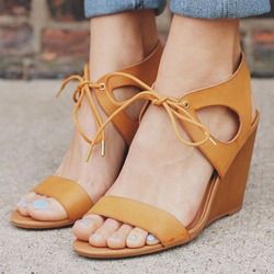 Shoespie Yellow Wedge Sandals