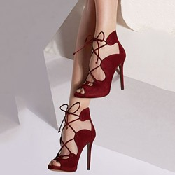 Shoespie Burgundy Peep Toe Stiletto Heels