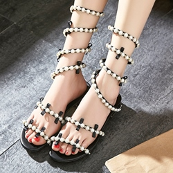 Shoespie Beading Wrap Flat Sandals
