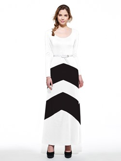 Shoespie Stripe Belt V Neck Women's Maxi Dress