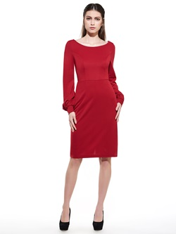 Red Backless Long Sleeve Bodycon Dresses