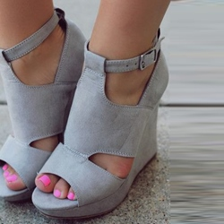 Shoespie Gray Wedge Sandals