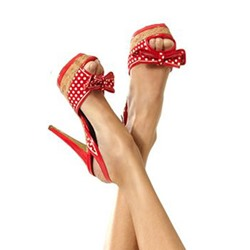 Shoespie Red Plaid Sweet Bowtie Peep Toe Platform Heels shoespie