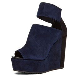 Shoespie Color Block Peep Toe Wedge Sandals