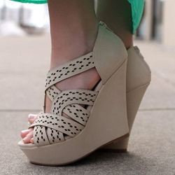 Shoespie Chic Beige Wedge Sandals