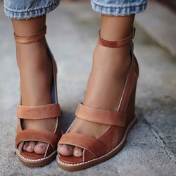 Shoespie Threading Wedge Sandals