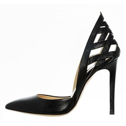 Shoespie Black Cutout Pointed Toe Stiletto Heels