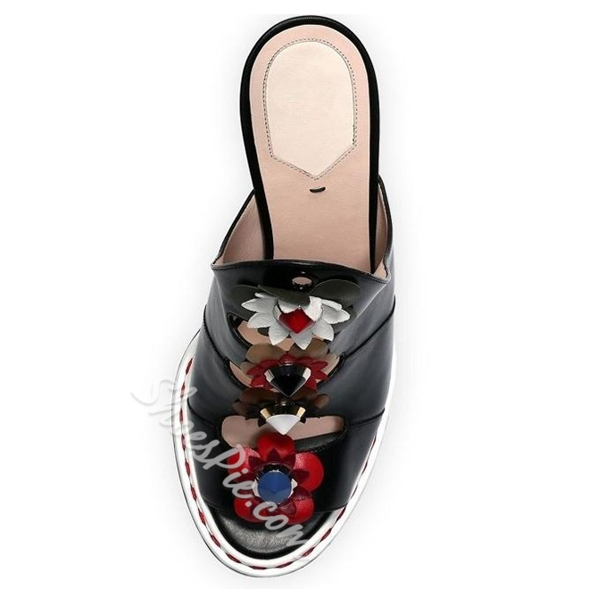 Shoespie Flowers Applique Dress Sandals