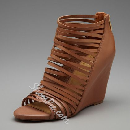 Shoespie Brown Strappy Wedge Sandals