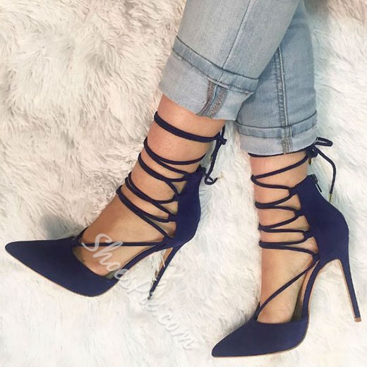 e91bd39ea739 Shoespie Elegant Royal Blue Lace Up Stiletto Heels- Shoespie.com