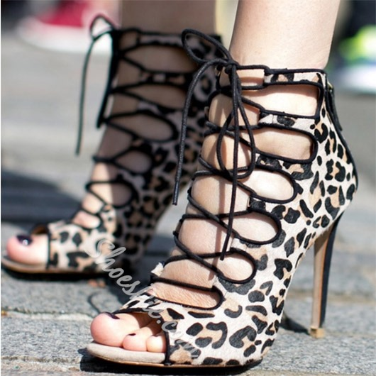 Shoespie Leopard Lace Up Sandals