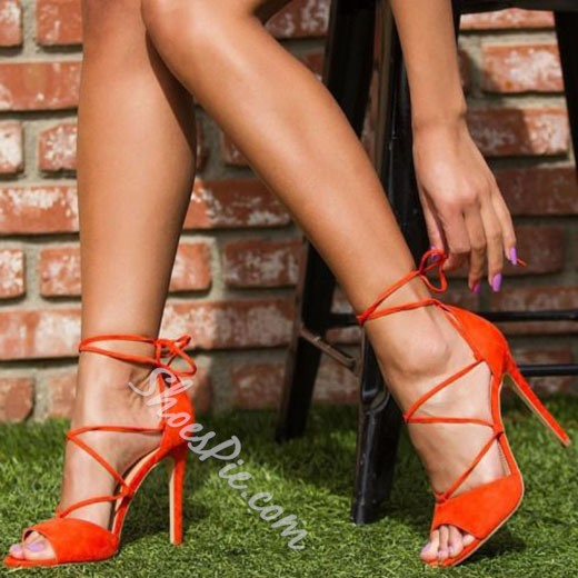 Shoespie Summer Night Club Lace Up Stiletto Heels