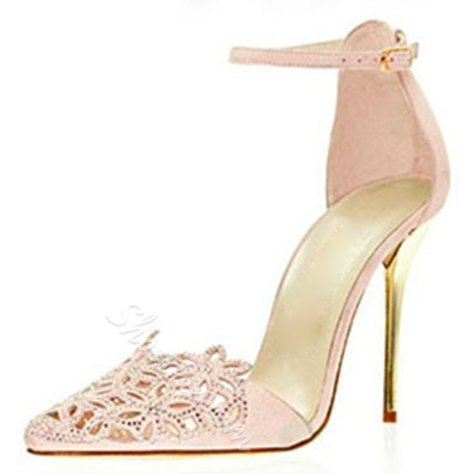 Shoespie Sequined Cutout Ankle Wrap Court Shoes