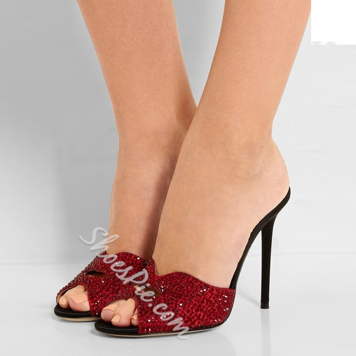 Shoespie Red Peep Toe Mule Shoes