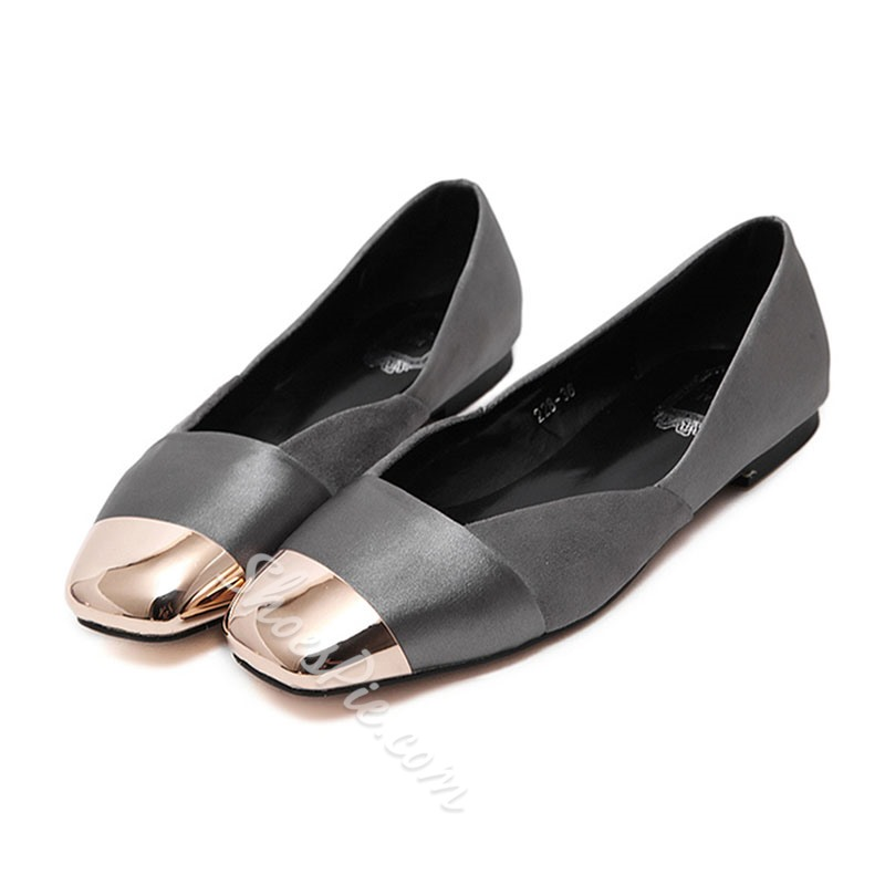 Shoespie Metal Round Toe Loafers