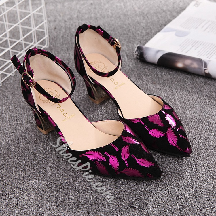 Shoespie Designers Feather Printed Chunky Low Heels