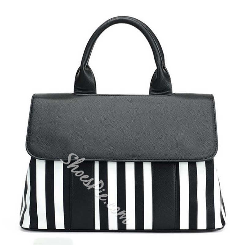 Shoespie Black and White Stripes Tote Bag