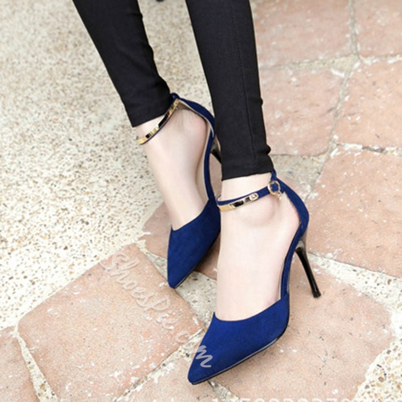 Shoespie Pointed Toe Metal Ankle Wrap Stiletto Heels