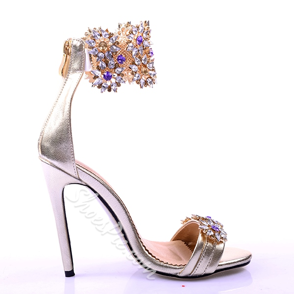 Shoespie Luxious Rhinestone Flower Dress Sandals