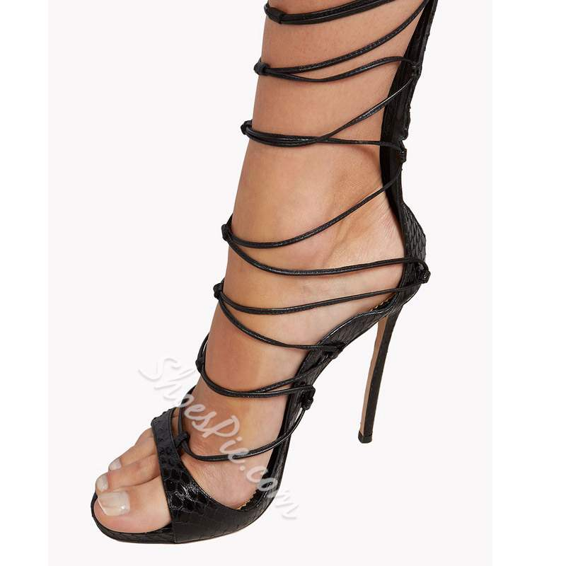 Shoespie Thigh High Lace Up Sandals