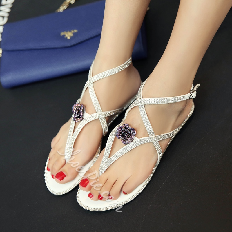 Shoespie Roses Thong Flat Sandals