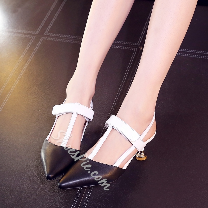 Shoespie Black and White Low Heels