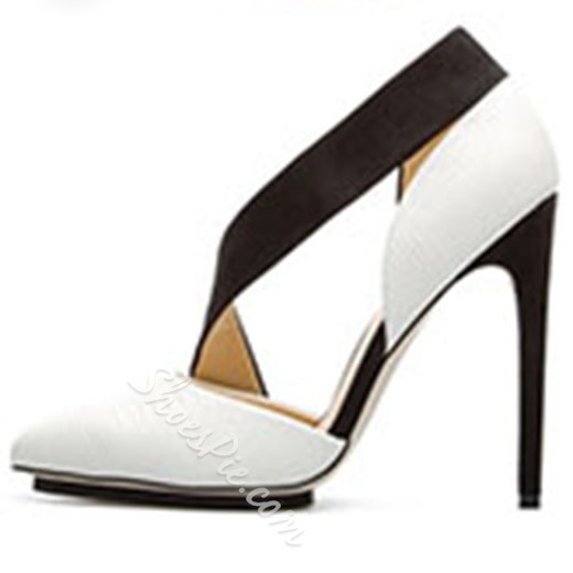 Shoespie Black and White Contrast Color Stiletto Heels