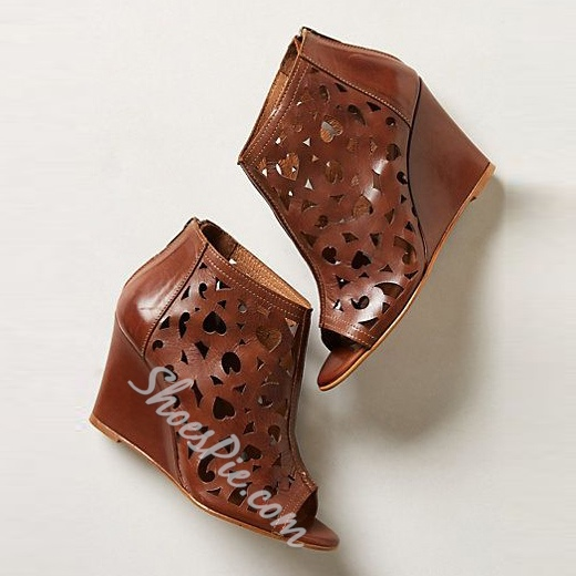 Shoespie Brown Cutout Wedge Sandals