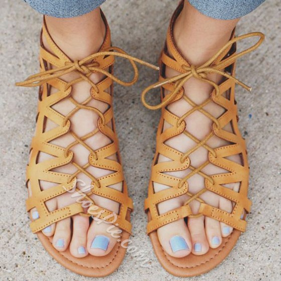 Shoespie Cage Lace Up Flat Sandals