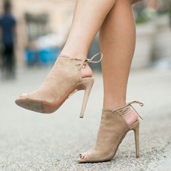 Shoespie Nude Open Toe Backless Stiletto Heels