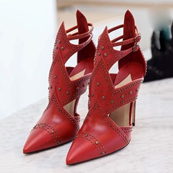 Shoespie Red Curve Tab Cutout Stiletto Heels