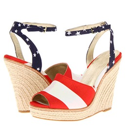 Shoespie Flag Pattern Wedge Sandals