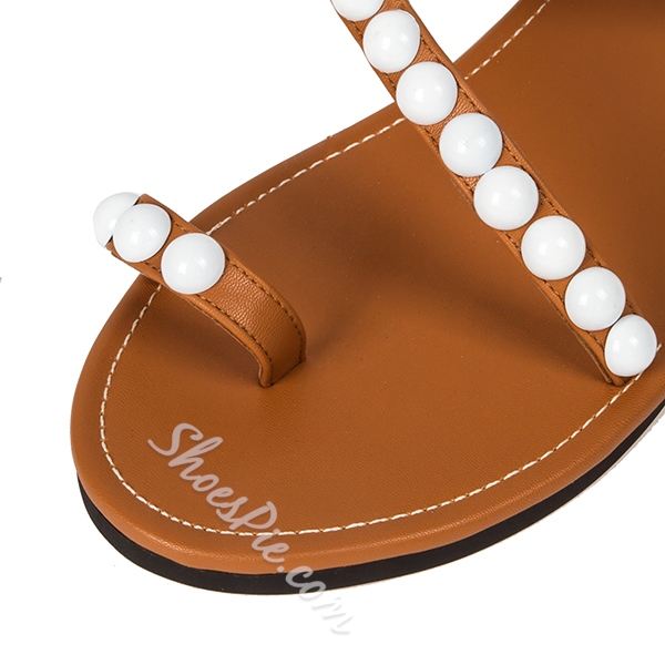Shoespie Exquisite Pearls Beading Flat Sandals