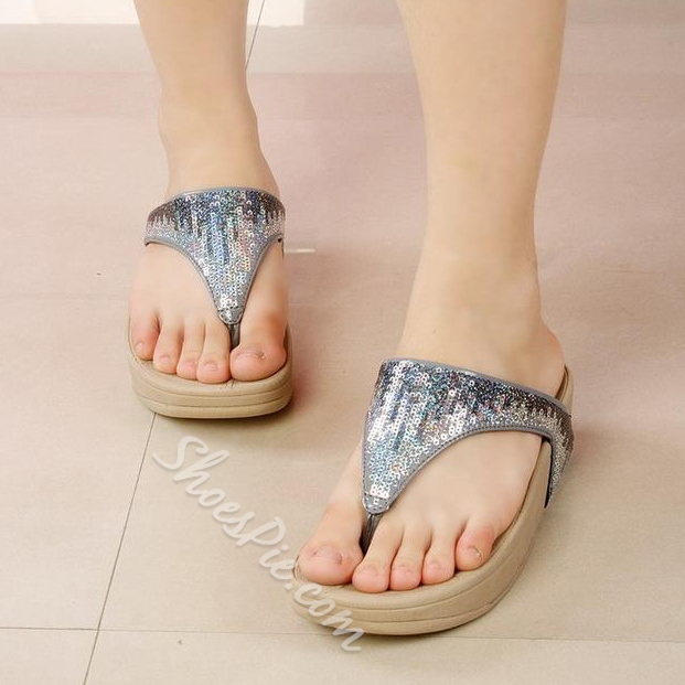 Shoespie Sequined Thong Slippers