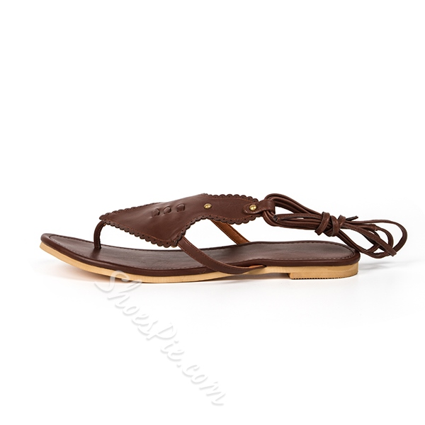 Shoespie Brown Lace Up Gladiator Flat Sandals