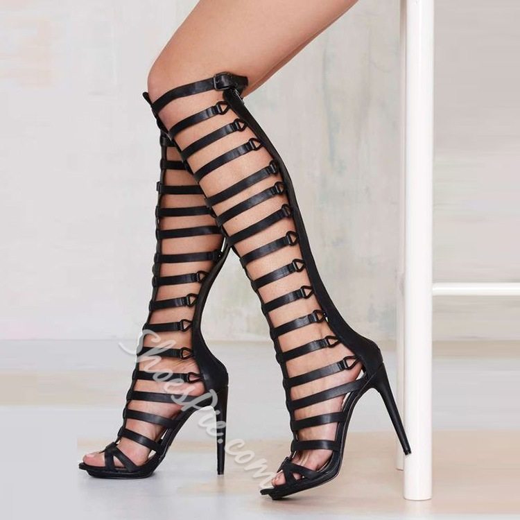 Shoespie Black Strappy Sandal Boots