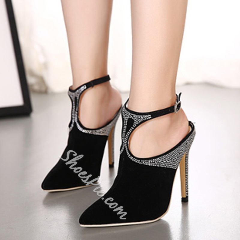 Shoespie Black Rhinestone Backless Stiletto Heels
