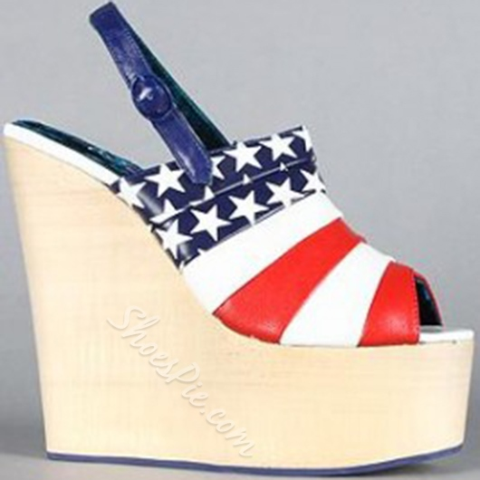 Shoespie Stars Spangled Wedge Sandals
