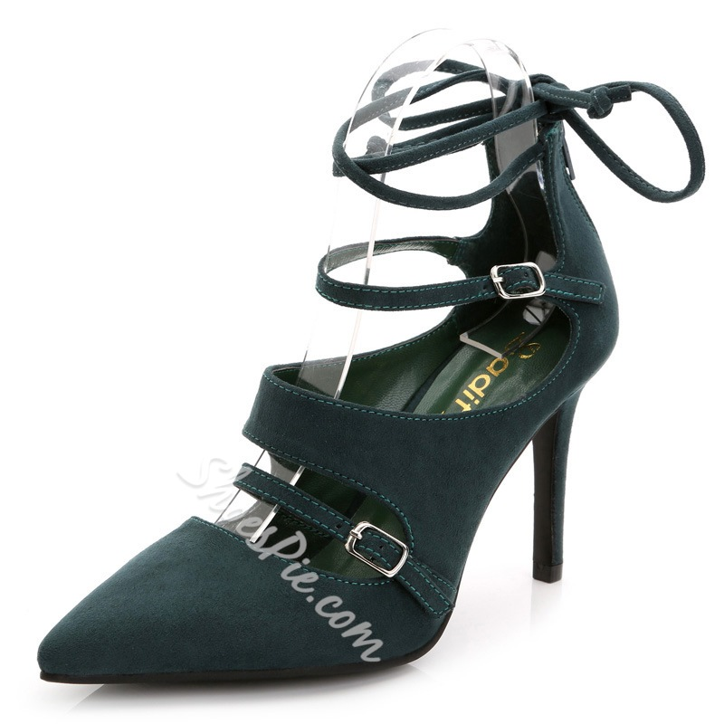 Shoespie Buckled Cutout Pointed Toe Stiletto Heels