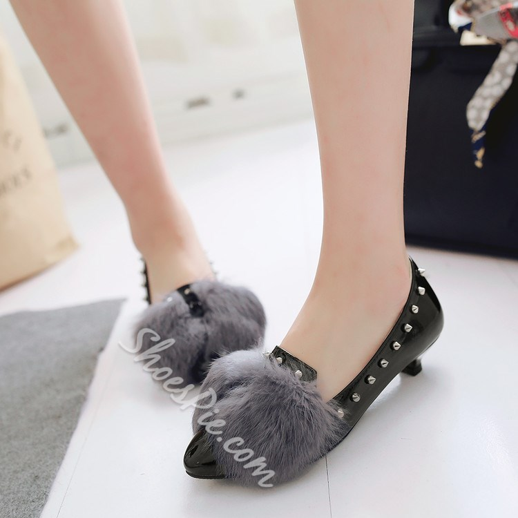 Shoespie Cute Furry Kitten Loafers