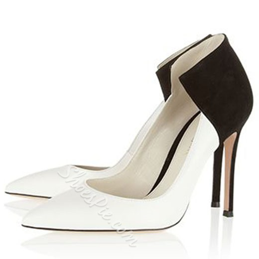 Shoespie White and Black Two Tone Stiletto Heels